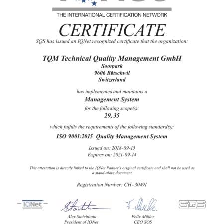 TQM Lufthygiene ISO Zertifikat