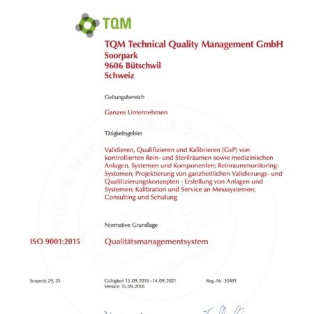 TQM Luftmessung ISO Zertifikat